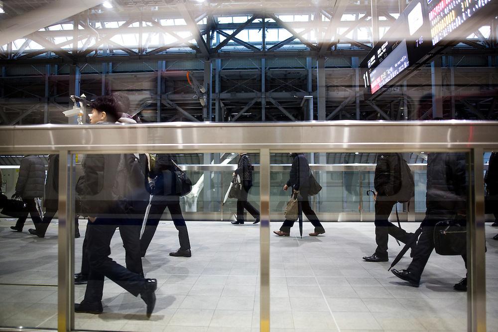 TOKYO, JAPAN - DECEMBER 21 : Bullet train is seen at Tokyo Station on December 21, 2015, Tokyo, Japan.<br />   <br /> Photo: Richard Atrero de Guzman