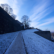 The climb up to the top of the Citadel de Namur on a crisp perfect winter day..A fixture in this city since the Roman era, and rebuilt several times since, the most significant of which came by the noted French engineer Vaubuan following the siege of Namur in 1692