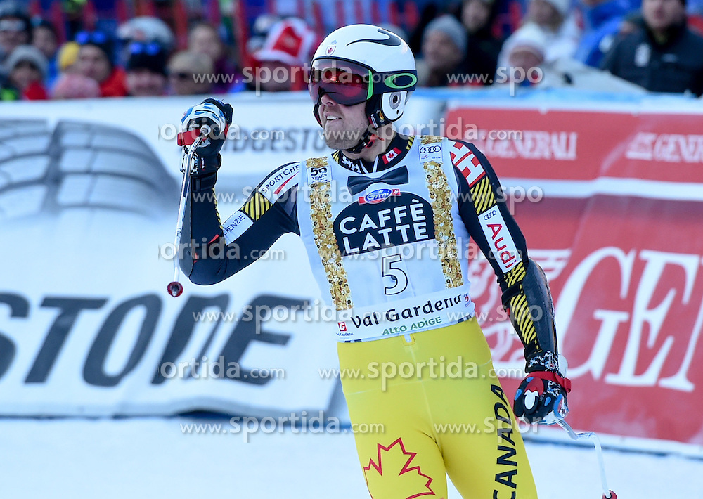 16.12.2016, Saslong, St. Christina, ITA, FIS Weltcup Ski Alpin, Groeden, Abfahrt, Herren, im Bild Dustin Cook (CAN) // Dustin Cook of Canada reacts after his run of men's downhill of FIS Ski Alpine World Cup at the Saslong in St. Christina, Italy on 2016/12/16. EXPA Pictures © 2016, PhotoCredit: EXPA/ Erich Spiess