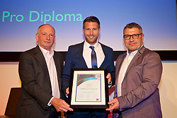 NEWPORT, WALES - Friday, May 18, 2018: Rob Edwards receives his UEFA Pro Licence Diploma from Lennie Lawrence (left) and Wales technical director Osian Roberts (right) during day one of the Football Association of Wales' National Coaches Conference 2018 at the Celtic Manor Resort. (Pic by David Rawcliffe/Propaganda)