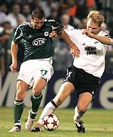 Fotball, 14. september,  UEFA Champions League, Panathinaikos - Rosenborg, , Erik Hoftun, Rosenborg og Papadopoulos, Panathinaikos