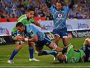 PRETORIA, South Africa, 18 MAY 2013 : Pierre Spies (C) of the Bulls goes over for his try with Hosea Gear (left) and Mose Tuiali'i of the Highlanders too late to stop him during the SupeRugby match between the BULLS and the HIGHLANDERS at Loftus Versfeld in Pretoria, South Africa on 18 MAY 2013. Bulls 35 - 18 Highlanders.<br /> <br /> © Anton de Villiers / SASPA