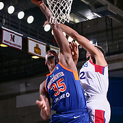 Westchester Knicks Center JORDAN HENRIQUEZ (35) tips the ball into the basket in the first half of a NBA G-league regular season basketball game between the Delaware 87ers and the Westchester Knicks (New York Knicks) Tuesday, Nov. 07, 2017, at The Bob Carpenter Sports Convocation Center in Newark, DEL