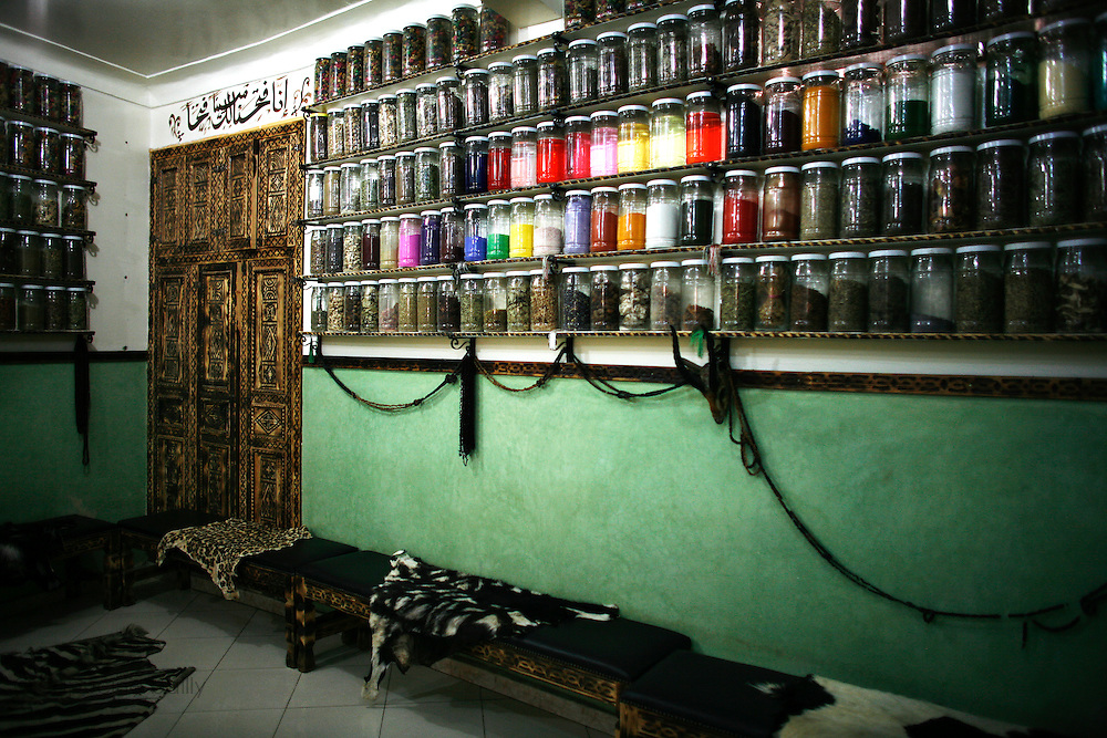 Marrakesh, Morocco. October 9th 2008..At an herbalist's shop.