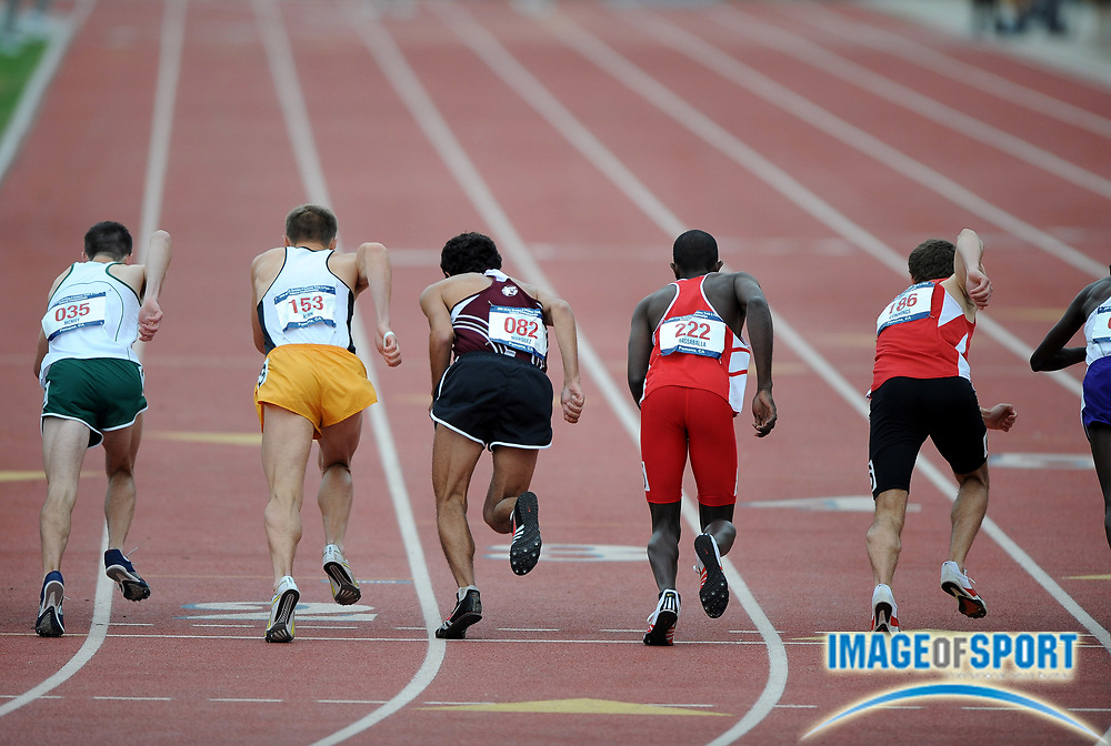 May 24, 2008; Walnut, CA, USA; Runners take their mark before the start of the 1,500m in the NCAA Division II Track & Field Championships at Mt. San Antonio College's Hilmer Lodge Stadium.