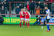 Fleetwood Town team celebrates first goal for his team during the EFL Sky Bet League 1 match between Fleetwood Town and Blackburn Rovers at the Highbury Stadium, Fleetwood, England on 20 January 2018. Photo by Michal Karpiczenko.