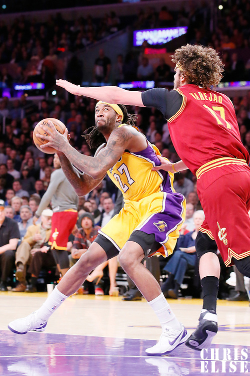 14 January 2014: Cleveland Cavaliers center Anderson Varejao (17) defends on Los Angeles Lakers center Jordan Hill (27) during the Cleveland Cavaliers 120-118 victory over the Los Angeles Lakers at the Staples Center, Los Angeles, California, USA.