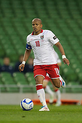 DUBLIN, REPUBLIC OF IRELAND - Wednesday, May 25, 2011: Wales' Robert Earnshaw in action against Scotland during the Carling Nations Cup match at the Aviva Stadium (Lansdowne Road). (Photo by David Rawcliffe/Propaganda)