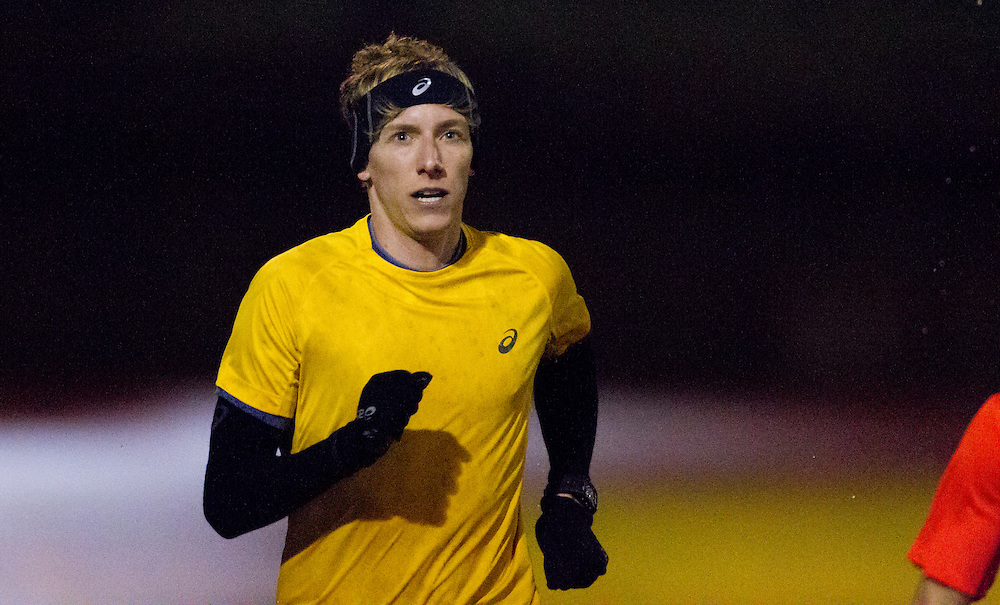 Charles Philibert-Thiboutot (yellow) trains at the University of Victoria on December 3rd, 2015 in Victoria, British Columbia Canada.