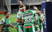 Players Celebrate Hamish Northcott try for Manawatu in the ITM Cup Rugby Match. Otago v Manawatu at Forsyth Barr Stadium, Dunedin, New Zealand. Friday 10 October 2014. New Zealand. Photo: Richard Hood/photosport.co.nz