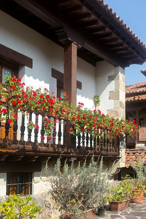 SANTILLANA DEL MAR, SPAIN - April 20 2018 - Architecture in town centre of Santillana del Mar, Cantabria, Spain.