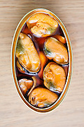 Canned mussels.