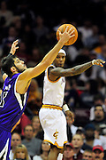 Oct. 30, 2010; Cleveland, OH, USA; Sacramento Kings small forward Omri Casspi (18) steals a pass from Cleveland Cavaliers point guard Daniel Gibson (1) during the third quarter at Quicken Loans Arena. The Kings beat the Cavaliers 107-104. Mandatory Credit: Jason Miller-US PRESSWIRE