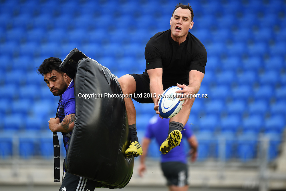 Liam Messam and Israel Dagg during an All Blacks squad training session at Trusts Stadium ahead of the test match against Samoa next week. Auckland, New Zealand. Friday 3 July 2015. Copyright Photo: Andrew Cornaga / www.Photosport.nz