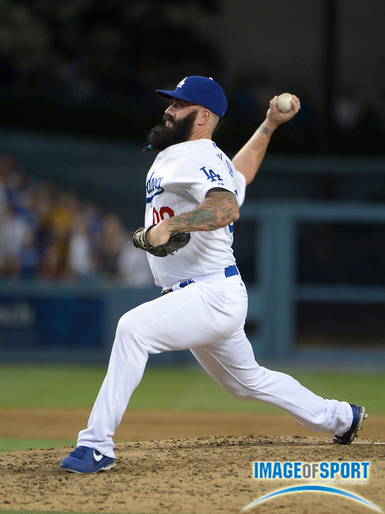Aug 26, 2013; Los Angeles, CA, USA; Los Angeles Dodgers reliever Brian Wilson (00) delivers a pitch against the Chicago Cubs at Dodger Stadium. The Dodgers defeated the Cubs 6-2.