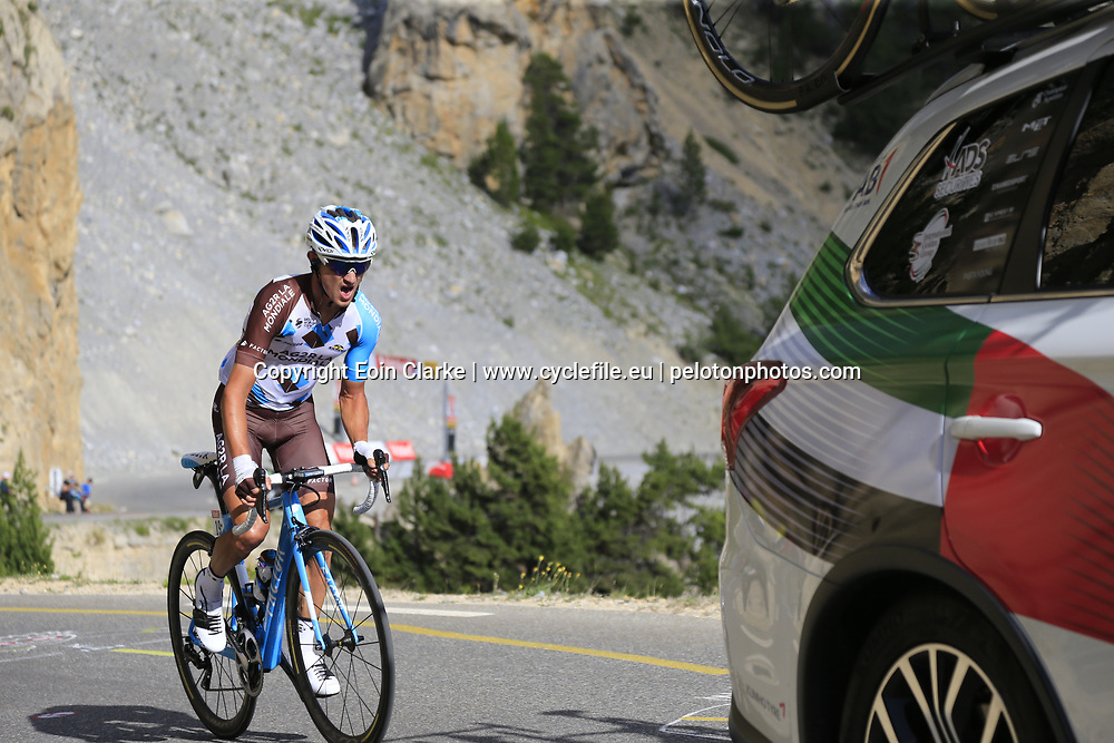 Alexis Villermoz (FRA) AG2R La Mondiale climbs through the Caisse Deserte on Col d'Izoard during Stage 18 of the 104th edition of the Tour de France 2017, running 179.5km from Briancon to the summit of Col d'Izoard, France. 20th July 2017.<br /> Picture: Eoin Clarke | Cyclefile<br /> <br /> All photos usage must carry mandatory copyright credit (&copy; Cyclefile | Eoin Clarke)