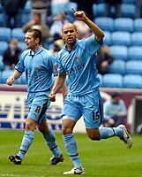 Photo: Ed Godden/Sportsbeat Images.<br />Coventry City v Cardiff City. Coca Cola Championship. 10/02/2007. Coventry's Leon McKenzie celebrates after his goal makes it 1-0.