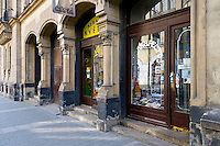 BRNO, CZECH REPUBLIC - MARCH 5th 2011: Photo of typical antique shops in the old town of Brno. Brno is the 2nd largest city in the Czech Republic. EDITORIAL USE ONLY.