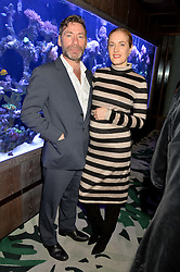 MAT COLLISHAW and POLLY MORGAN at a dinner hosted by Creme de la Mer to celebrate the launch of Genaissance de la Mer The Serum Essence held at Sexy Fish, Berkeley Square, London on 21st January 2016.