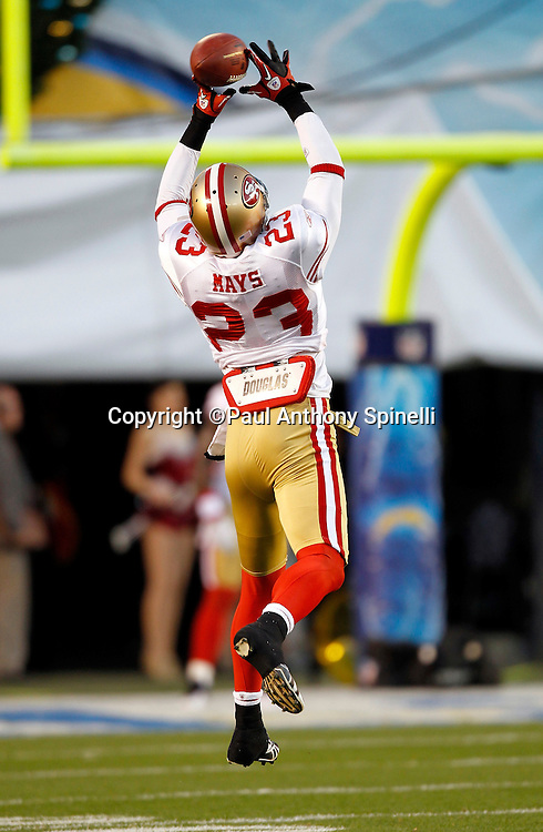 San Francisco 49ers safety Taylor Mays (23) leaps and catches a pregame pass during the NFL week 15 football game against the San Diego Chargers on Thursday, December 16, 2010 in San Diego, California. The Chargers won the game 34-7. (©Paul Anthony Spinelli)