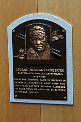 George Herman (Babe) Ruth plaque, National Baseball Hall of Fame and Museum, Cooperstown, New York, United States of America