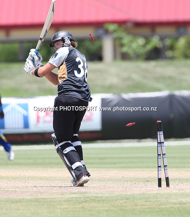 TG Southee bowled Malinga. New Zealand Black Caps v Sri Lanka, international exhibition Twenty 20 cricket match, Central Broward Regional Park, Florida, United States of America. 23 May 2010. Photo: Barry Bland/PHOTOSPORT