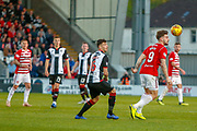 Mihai Popescu of St Mirren looses possession to George Oakley of Hamilton during the Ladbrokes Scottish Premiership match between St Mirren and Hamilton Academical FC at the Paisley 2021 Stadium, St Mirren, Scotland on 13 May 2019.