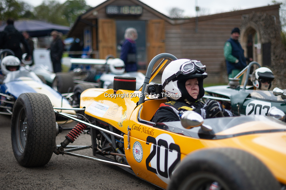 Prescott Hill, Gotherington, Cheltenham, Gloucestershire, UK. 29th April 2018.  Pictured:  Competitors wait in the Paddock area to begin their individual time trials up Prescott Hill. /  Some of the fastest hillclimb cars in the country compete in the opening round of the UK's premier championships at the historic Prescott Hill in Gloucestershire, home of the UK's Bugatti Owners' Club.  The two day event features the opening rounds of the British & Midland Hillclimb Championships as well as rounds for the Bugatti Owners' Club (BOC) New Barn Roadgoing and the Aldon Classic Championships. The weekend meeting also entertained hundreds of spectators with an appearance from the National Hill Climb Association (NHCA) motorcycles, several with attached sidecars.  //Lee Thomas, Tel. 07784142973. Email: leepthomas@gmail.com  www.leept.co.uk (0000635435)