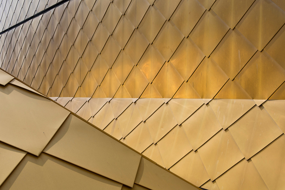 The distinctive Gold colour building of The Hive in Worcester, the first fully integrated university and public library in the UK. The roof is made from TECU in the colour Gold, an alloy of copper and aluminium. Worcester, UK.