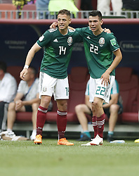 MOSCOW, June 17, 2018  Mexico's Hirving Lozano (R) and Javier Hernandez celebrate scoring during a group F match between Germany and Mexico at the 2018 FIFA World Cup in Moscow, Russia, June 17, 2018. (Credit Image: © Cao Can/Xinhua via ZUMA Wire)