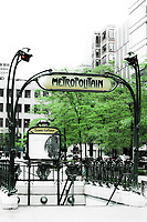 french subway entrance in montreal city canada