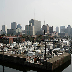 A view of the City of New Orleans looking south with a cementary in the foreground during the aftermath of Hurricane Katrina Saturday, September 3, 2005 in New Orleans, Louisiana.  <br /> (Pasadena Star-News Keith Birmingham)