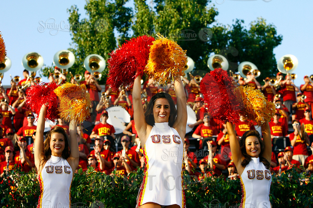 22 August 2009: Cheerleader Song Girls  Morgan, Adrianna, Erin at the 2009 Salute to Troy after the final day of fall camp on campus. The Trojan Football team was joined on Cromwell Field by 3,500 fans, the Trojan Marching Band, the 2009 Song Girls Cheerleading squad to kickoff the upcoming season.