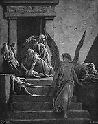 Seven Plagues of Egypt: Exodus. Angel of the Lord, sword in hand, leaving mothers lamenting the death of the first born. Illustration by Gustave Dore (1832-1883) French painter and book illustrator for 'The Bible' (London 1866). Wood engraving.