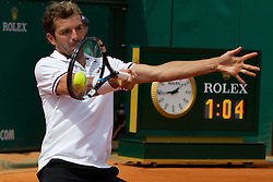 18.04.2012 Country Club, Monte Carlo, MON, ATP World Tour, Rolex Masters, 2. Runde, im Bild Julien Benneteau (FRA) in action during the second round match between Julien Benneteau (FRA) and Jurgen Melzer (AUT) // at the Rolex Masters tennis tournament second Round of ATP World Tour at Country Club, Monte Carlo, Monaco on 2012/04/17. EXPA Pictures © 2012, PhotoCredit: EXPA/ Mitchell Gunn