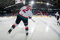 KELOWNA, CANADA - FEBRUARY 23:  Lassi Thomson #2 of the Kelowna Rockets passes the puck during warm up against the Kamloops Blazers on February 23, 2019 at Prospera Place in Kelowna, British Columbia, Canada.  (Photo by Marissa Baecker/Shoot the Breeze)
