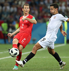 NIZHNY NOVGOROD, June 27, 2018  Stephan Lichtsteiner (L) of Switzerland vies with Daniel Colindres of Costa Rica during the 2018 FIFA World Cup Group E match between Switzerland and Costa Rica in Nizhny Novgorod, Russia, June 27, 2018. The match ended in a 2-2 draw. Switzerland advanced to the round of 16. (Credit Image: © Ye Pingfan/Xinhua via ZUMA Wire)