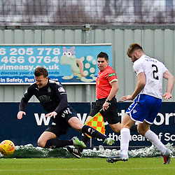 Paul Watson (Falkirk) and Shaun Rooney (Queen of the South) during the Scottish Championship clash between Falkirk and Queen of the South at the Falkirk Stadium, where the home side pulled off a shock win.<br /> <br /> (c) Dave Johnston | sportPix.org.uk