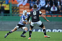 Cheslin Kolbe of Western Province attempts to get past Sharks captain Keegan Daniel during the Currie Cup Premier Division match between the DHL Western Province and the Sharks held at the DHL Newlands Rugby Stadium in Cape Town, South Africa on the 3rd September  2016<br /> <br /> Photo by: Shaun Roy / RealTime Images