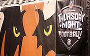 A team banner hangs on the sideline wall with an NFL Network Thursday Night Football banner during the Cincinnati Bengals NFL week 10 regular season football game against the Cleveland Browns on Thursday, Nov. 6, 2014 in Cincinnati. The Browns won the game 24-3. ©Paul Anthony Spinelli