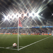 The New York Reds Bulls prepare to take a corner at Red Bull Arena during the New York Red Bulls Vs Chicago Fire, Major League Soccer regular season match won 5-4 by the Chicago Fire at Red Bull Arena, Harrison, New Jersey. USA. 10th May 2014. Photo Tim Clayton<br /> (Note to editors: A special effects starburst filter used in the creation of this image)