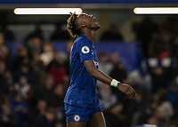Football - 2019 / 2020 Premier League - Chelsea vs. Burnley<br /> <br /> Tammy Abraham (Chelsea FC) breathes a huge sigh of relief at the end of the game at Stamford Bridge <br /> <br /> COLORSPORT/DANIEL BEARHAM