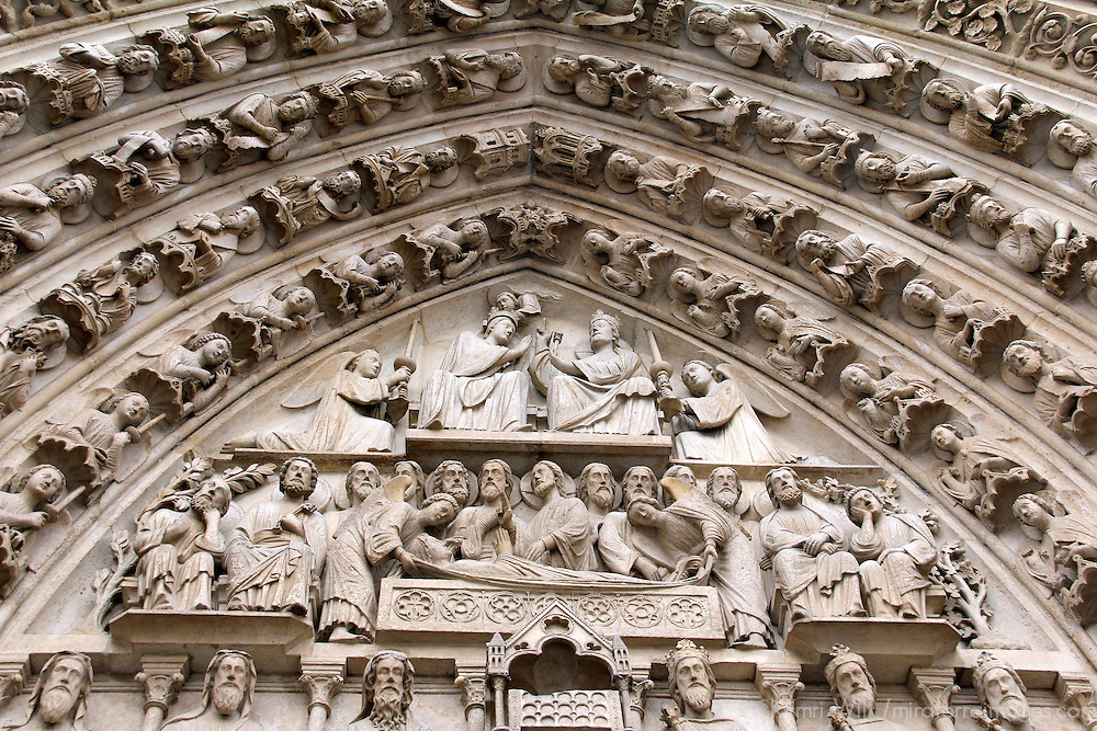 Europe, France, Paris. Notre-Dame Cathedral arch.