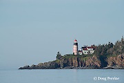 West Quoddy Head Lighthouse, Lubec, Maine, United States ( Bay of Fundy ), built in 1808, re-built in 1830 & in 1858, overlooking Sail Rock - the easternmost point of land in the USA, guards the entrance to Lubec Channel