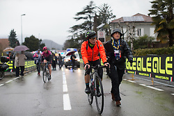 Giorgia Bronzini (ITA) of Cylance Pro Cycling finishes the Trofeo Alfredo Binda - a 131,1 km road race, between Taino and Cittiglio on March 18, 2018, in Varese, Italy. (Photo by Balint Hamvas/Velofocus.com)