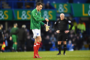 Kal Naismith (22) of Portsmouth replaces goalkeeper Stephen Henderson (13) of Portsmouth who went off injured during the EFL Sky Bet League 1 match between Portsmouth and Doncaster Rovers at Fratton Park, Portsmouth, England on 3 February 2018. Picture by Graham Hunt.