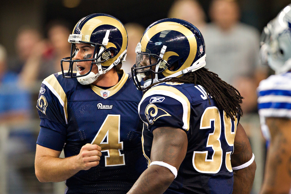ARLINGTON, TX - OCTOBER 23:   Quarterback A.J. Feeley #4 and Steven Jackson #39 of the St. Louis Rams after a play against the Dallas Cowboys at the Cowboy Stadium on October 23, 2011 in Arlington, Texas.  The Cowboys defeated the Rams 34 to 7.  (Photo by Wesley Hitt/Getty Images) *** Local Caption *** A.J. Feeley; Steven Jackson