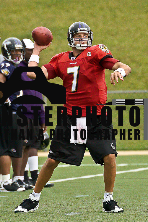 Quarterback Kyle Boller #7 throws a Pass during Ravens Training Camp  Wednesday, July 23, 2008, at McDaniel College in Westminster Maryland.