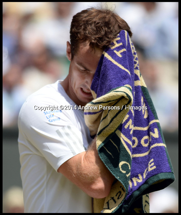 &copy;Licensed to i-Images Picture Agency. 02/07/2014. London, United Kingdom. <br /> In the Frame - Andy Murray. Murray Lost first set. <br /> Andy Murray  v Grigor Dimitrov on centre court in the  Mens Quarter Finals at Wimbledon. Picture by Andrew Parsons / i-Images