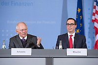"16 MAR 2017, BERLIN/GERMANY:<br /> Wolfgang Schaeuble (L), CDU, Bundesfinanzminister, und Steven Terner ""Steve"" Mnuchin (R), Fianzminister der Vereinigten Staaten von Amerika, USA, waehrend einer Pressekonferenz nach einem gemeinsamen Treffen, Bundesministerium der Finanzen<br /> IMAGE: 20170316-03-001<br /> KEYWORDS: Wolfgang Schäuble, Steve Mnuchin, Treasury secretary"